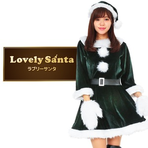 サンタ コスプレ 緑 グリーン レディース <帽子&ベルト&手袋セット> 【Peach×Peach  ラブリーサンタクロース ダークグリーン(緑) ワンピース 】 クリスマスコスプレ サンタクロース衣装