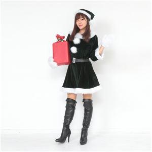 サンタ コスプレ 緑 グリーン レディース <帽子&ベルト&手袋セット> 【Peach×Peach ラブリーサンタクロース ダークグリーン(緑) ワンピース】 クリスマスコスプレ サンタクロース衣装