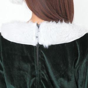サンタ 大きいサイズ 緑 グリーン レディース <帽子&ベルト&手袋セット> 【Peach×Peach ラブリーサンタクロース ダークグリーン(緑) ワンピース Lサイズ】 サンタコスプレ 大きめ サンタクロース衣装