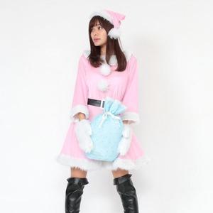 サンタ 大きいサイズ ピンク レディース <帽子&ベルト&手袋セット> 【Peach×Peach ラブリーサンタクロース ピンク ワンピース Lサイズ】 サンタコスプレ 大きめ サンタクロース