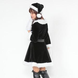 サンタ 大きいサイズ 黒 ブラック レディース <帽子&ベルト&手袋セット> 【Peach×Peach  ラブリーサンタクロース ブラック(黒) ワンピース Lサイズ】 サンタコスプレ 大きめ サンタクロース