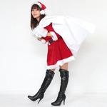 サンタ 大きいサイズ 赤 レッド レディース <帽子&ベルト&手袋セット> 【Peach×Peach  ラブリーサンタクロース レッド(赤) ワンピース Lサイズ】 サンタコスプレ 大きめ サンタクロース