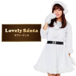サンタ コスプレ 白 ホワイト レディース <帽子&ベルト&手袋セット> 【Peach×Peach  ラブリーサンタクロース ホワイト(白) ワンピース Mサイズ 】 クリスマスコスプレ サンタクロース衣装  - 拡大画像