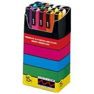 (業務用10セット) 三菱鉛筆 ポスカ/POP用マーカー 【細字 15色セット】 水性インク PC3M15 h01