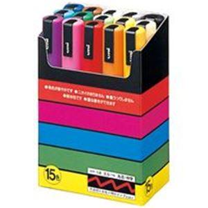 (業務用10セット) 三菱鉛筆 ポスカ/POP用マーカー 【中字 15色セット】 水性インク PC5M15C h01