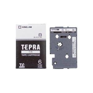 (業務用30セット) キングジム テプラTRテープ TC6S 白に黒文字 6mm
