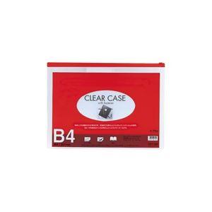 (業務用10セット)LIHITLABクリアケース/書類入れ【B4サイズ/マチなし】ビニール製透明横型F-75Sレッド(赤)