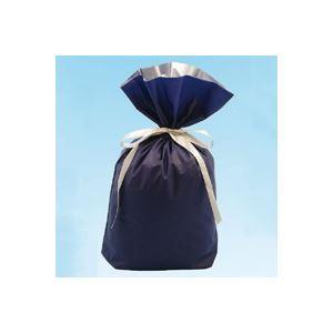 (業務用30セット) カクケイ 梨地リボン付き巾着袋 紺 M 20枚 FK2407