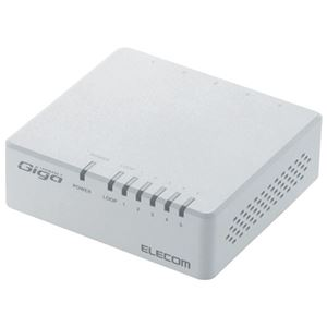 (まとめ)エレコム スイッチングハブ 5ポートEHC-G05PA-JW-K【×5セット】