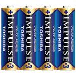 (まとめ)東芝 インパルス アルカリ乾電池 単3電池 4個パック【×50セット】