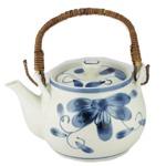 (まとめ)西海陶器 青い花 軽量6号土瓶【×5セット】