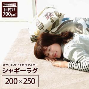 ラグマット洗える3畳長方形(200×250cm)アイボリーホワイト【やさしいマイクロファイバーシャギーラグ】〔北欧風丸洗いカーペット〕