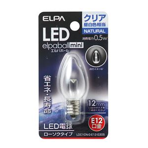 (業務用セット)ELPALED装飾電球ローソク球形E12クリア昼白色LDC1CN-G-E12-G305【×10セット】