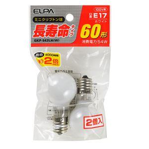 (業務用セット)ELPA長寿命ミニクリプトン球電球60W形E17ホワイト2個入GKP-542LH(W)【×20セット】