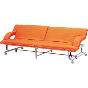 ソファ-ベット セミシングル リクライニング キャスター付き オレンジ