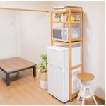 冷蔵庫ラック 木製 棚板(10段階高さ調整可)/アジャスター付き ナチュラル