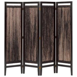パーテーション(スクリーン) グランツシリーズ 4連 木製 高さ150cm アジアン風 ブラウン - 拡大画像