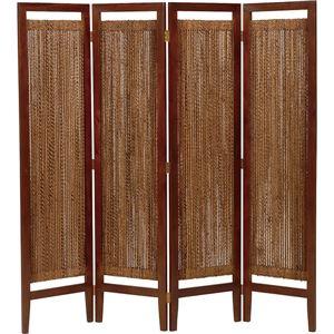 パーテーション(スクリーン) グランツシリーズ 4連 木製 高さ150cm アジアン風 ナチュラル - 拡大画像