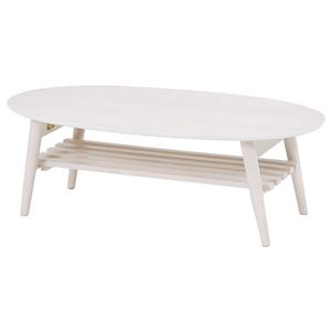 折れ脚テーブル(ローテーブル/折りたたみテーブル) 楕円形 幅100cm 木製 収納棚付き ホワイト(白)