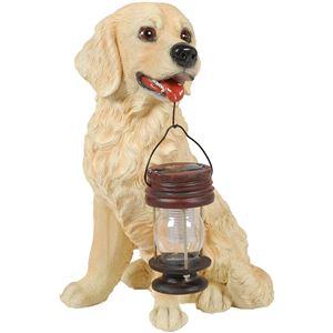 ソーラーランプ 太陽光蓄電式ランプ付き 犬型オーナメント 〔屋外/ガーデン/室内〕 ラブ - 拡大画像