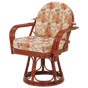 回転座椅子 木製(籐/ラタン) ゆったりサイズ 肘掛け付き  - 拡大画像