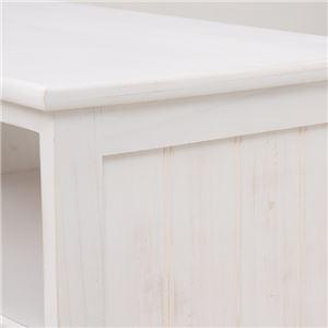 テレビ台/テレビボード 【幅100cm:26型〜42型対応】 木製 引き出し収納付き シャビーシック アンティークホワイト(白) 【完成品】  の画像
