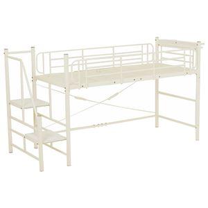階段式ロフトベッド/システムベッド 【ロータイプ アイボリー】 シングルサイズ スチール 二口コンセント/宮付き - 拡大画像
