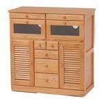 FAX台(電話台/リビング収納) 幅76cm 木製 扉/鍵/隠しキャスター付き 木目調 ナチュラル 商品画像