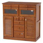 FAX台(電話台/リビング収納) 幅76cm 木製 扉/鍵/隠しキャスター付き 木目調 ブラウン 商品画像