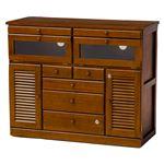 FAX台(電話台/リビング収納) 幅96cm 木製 扉/鍵/隠しキャスター付き 木目調 ブラウン 商品画像