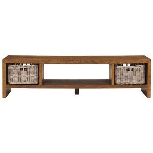 テレビ台/テレビボード 【幅150cm】 木製 カゴ収納付き texens(テクセンス) 【完成品】  - 拡大画像