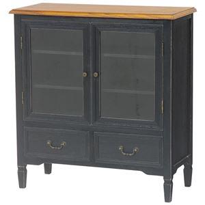 扉付きキャビネット(リビング収納/収納棚)幅80cm木製引き出し収納付きアンティーク調ブロカントシリーズブラック(黒)