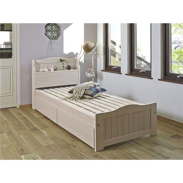 引き出し(二個)付きベッド(セミシングルショートサイズ) 木製 宮付き