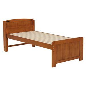 シングルベッド 木製 宮付き 高さ4段階調整可能 ブラウン  - 拡大画像