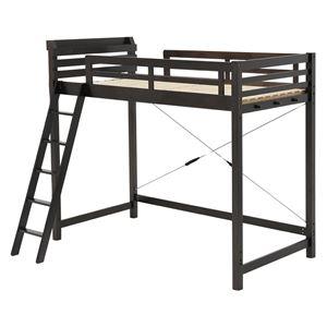 ロフトベッド/システムベッド 【ハイタイプ】 シングルサイズ 木製 二口コンセント/階段/宮付き ダークブラウン  - 拡大画像