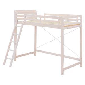 ロフトベッド 木製 ハイタイプ 階段/宮付き MB-5021 白  - 拡大画像