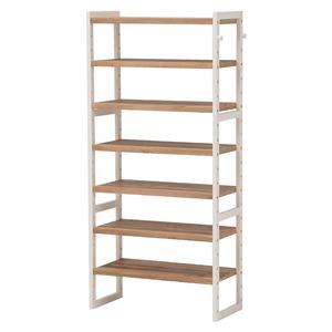 シューズラック(下駄箱/収納棚) 6段 幅60cm 木製 高さ調節可 フック/可動棚付き アイボリー  - 拡大画像