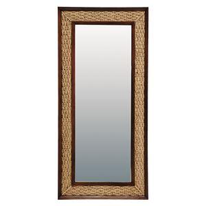 スタンドミラー/全身姿見鏡 【ワイド/立てかけタイプ】 木製 幅80cm アジアンテイスト
