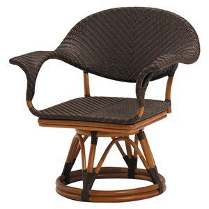 回転座椅子 籐+ポリエチレン(木製+樹脂)  - 拡大画像