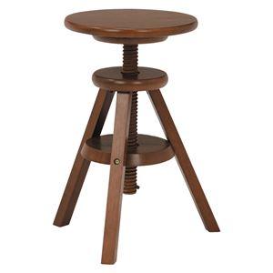回転スツール(丸椅子/昇降式チェア) 木製 床キズ防止フエルト付き 木目調 ブラウン - 拡大画像