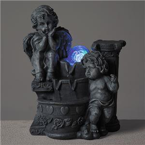 ミニ噴水鉢(ファウンテン) LEDライト付き 循環式 天使 (屋外/ガーデニング/室内/小型噴水)