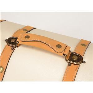 トランク型収納ケース(収納ボックス) 合成皮革使用 幅34cm×奥行20.5×高さ27cm アイボリー