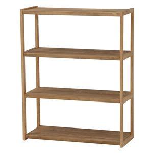 オープンラック/収納棚【3段】木製幅75cm×奥行28cm木目調ライトブラウン