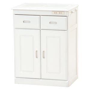 キッチンカウンター(キッチン収納/キッチンボード)幅52cm木製二口コンセント/キャスター付きホワイト(白)