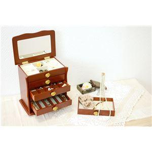 ジュエリーボックス(宝石箱) 6段 幅26cm×奥行16.5cm ローズ型取っ手付き ブラウン  - 拡大画像