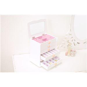 ジュエリーボックス(宝石箱) 6段 幅26cm×奥行16.5cm ローズ型取っ手付き ホワイト(白)  - 拡大画像