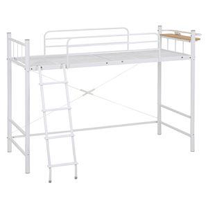 ロフトベッド/システムベッド 【ミドルタイプ 床面高120cm】 ホワイト(白) シングルサイズ スチール 二口コンセント/階段/宮付き - 拡大画像