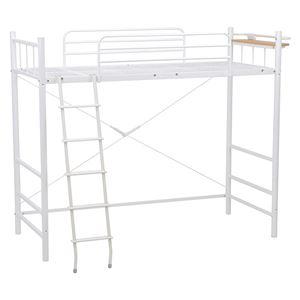 ロフトベッド/システムベッド 【ハイタイプ 床面高145cm】 ホワイト(白) シングルサイズ スチール 二口コンセント/階段/宮付き - 拡大画像