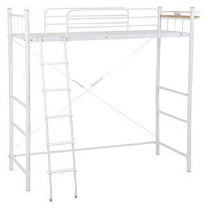 ロフトベッド/システムベッド 【ハイタイプ 床面高175cm】 ホワイト(白) シングルサイズ スチール 二口コンセント/階段/宮付き - 拡大画像