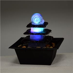 ミニ噴水/ファウンテン 【循環型】 LEDライト付き 〔インテリア用品/屋外/ガーデニング用品〕